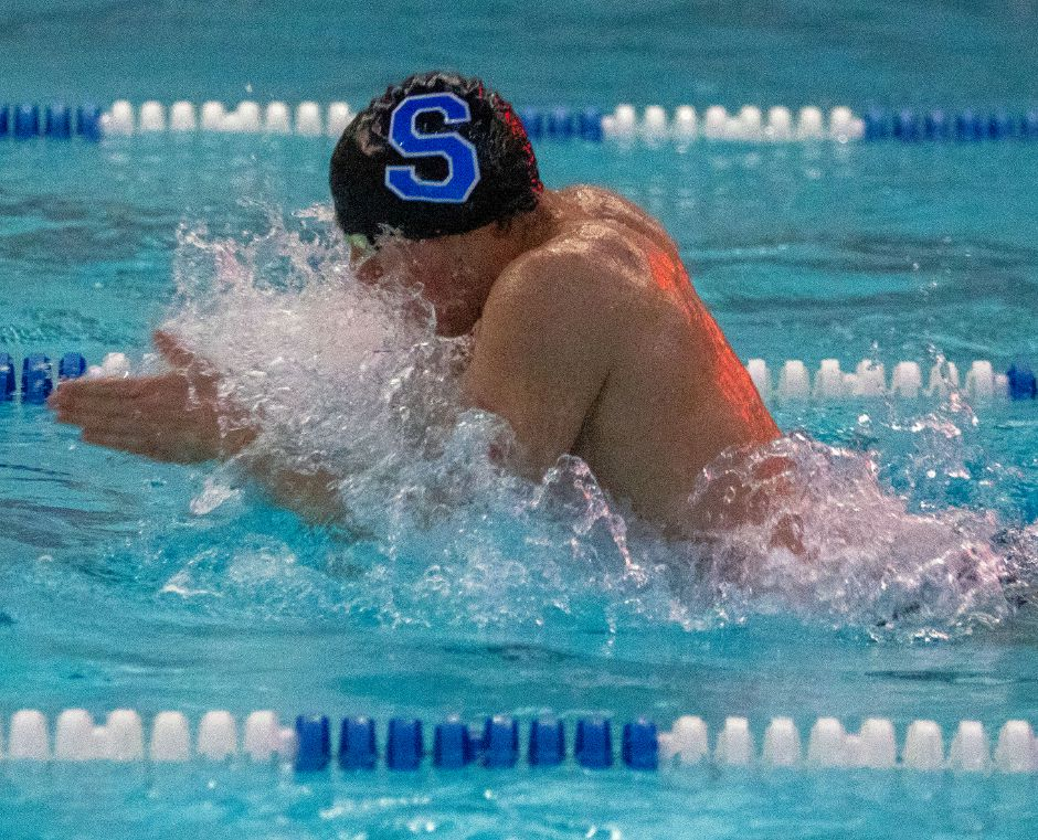 Jon Cocchiola and the Southington boys swim team stayed on course for the CCC West regular-season with a divisional victory over Avon on Monday. Cocchiola won the 100-yard breaststroke and swam on two first-place relays in the victory. | Aaron Flaum, Record-Journal