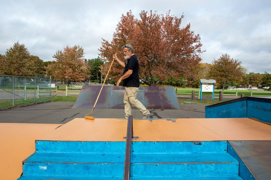 American Ramp Company's Mike Fordyce works on resurfacing the ramps at the Cheshire Skate Park at Bartlem Recreation Area on Tuesday, October 20, 2020. The skate park is going to be closed until October 23, 2020, for refinishing. Aaron Flaum, Record-Journal