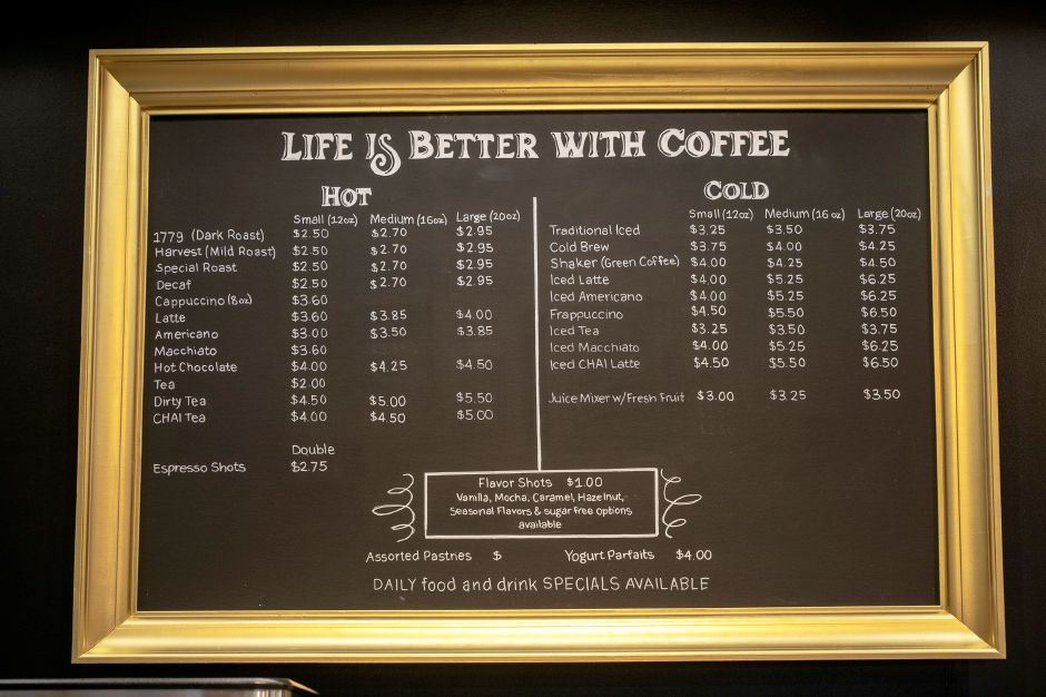 Coffee menu for the new Southington Coffee House express shop coming to a Sunoco on West Street in Southington, Wed., Feb. 26, 2020. Dave Zajac, Record-Journal