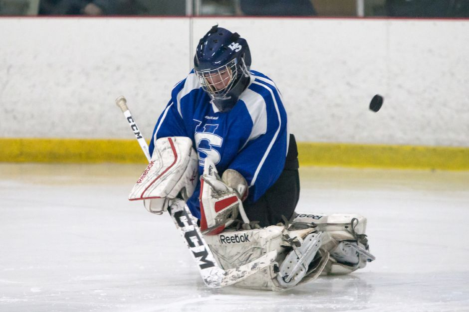 Noah Behrens-Gould had the shutout in Hall-Southington's 1-0 overtime victory Monday over Enfield-East Granby-Stafford at Enfield Twin Rinks. | Record-Journal file photo