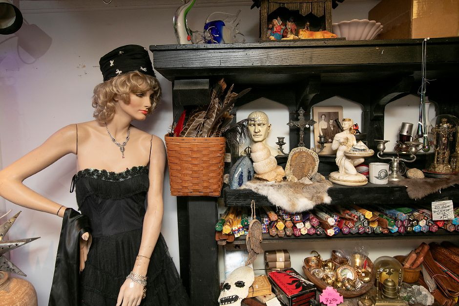 "A vintage mannequin named ""Tina Marie"" and shelves of oddities are for sale at La Vita Vintage."