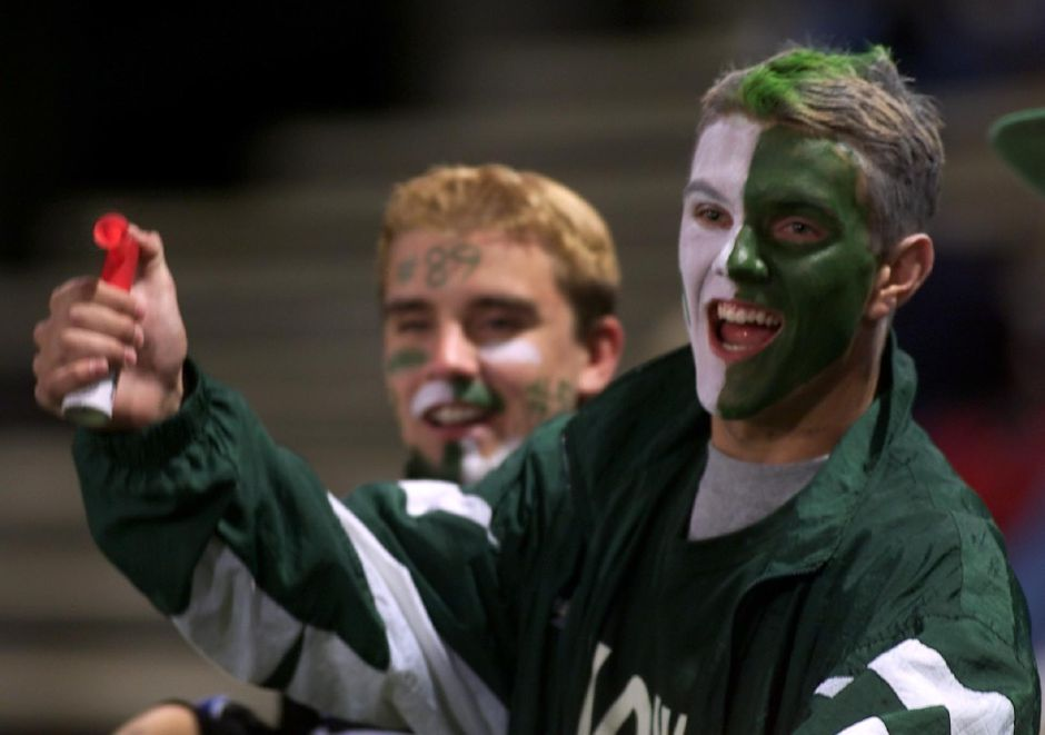 Wearing Spartan war paint, Maloney High School