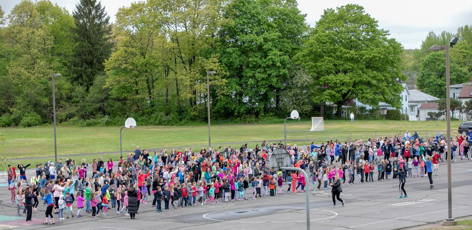 Students at Derynoski Elementary School in Southington exercise Tuesday during Activate Southington