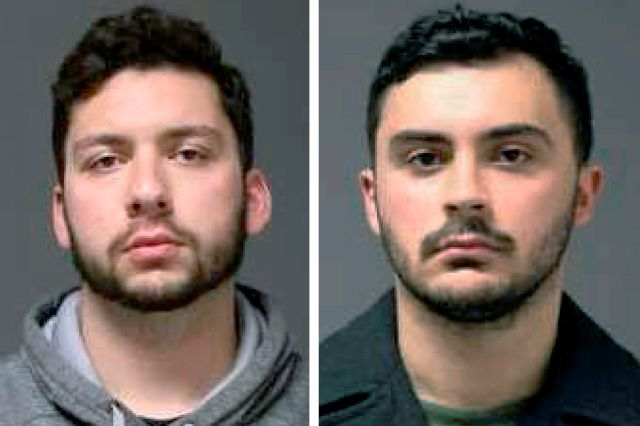 FILE - These 2019 file booking photos provided by the University of Connecticut Police Department show UConn students Jarred Mitchell Karal, left, and Ryan Mucaj, who were arrested in 2019 for shouting a racial slur outside a campus apartment complex. They were charged under a 1917 law that makes it a misdemeanor for anyone who ridicules or holds up to contempt certain classes of people. Professors and groups including the American Civil Liberties Union raised free speech concerns after...