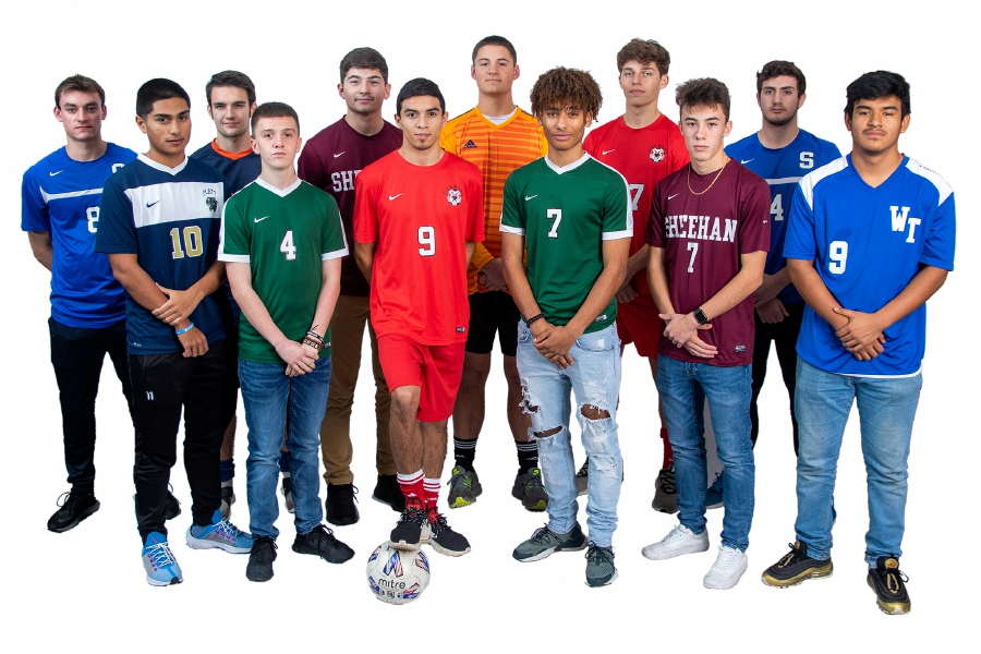 This is the 2019 All-Record-Journal Boys Soccer Team. In the back row, left to right, are Southington's Marek Kryzanski, Lyman Hall's Declan Turbett, Sheehan's Tyler Jasinski, Cheshire teammates Matt Pisani and Jack Loura, and Southington's Joe Tellerico. In the front row, left to right, are Platt's Elian Nava, Maloney's Ivan Bruce, Cheshire's Denys Fuentes, Maloney's Zechariah Smith, Sheehan's Matthew Marquis and Wilcox Tech's Giovanny Solis. Aaron Flaum, Record-Journal