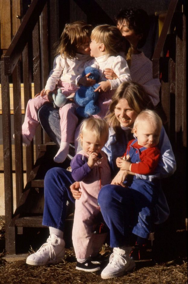 RJ file photo - Cheshire residents Joanne Slot, top and Diane Danard, have organized a support group for mothers of twins, Jan. 1990. Slot