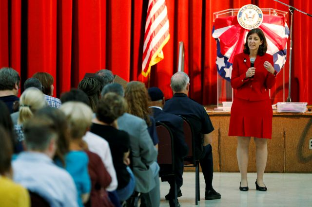 Rep. Elaine Luria, D-Va., gestures during a town hall at a church in Virginia Beach, Va., Thursday, Oct. 3, 2019. Luria recently joined a group of other Congresswomen to call for the impeachment of President Trump. (AP Photo/Steve Helber)
