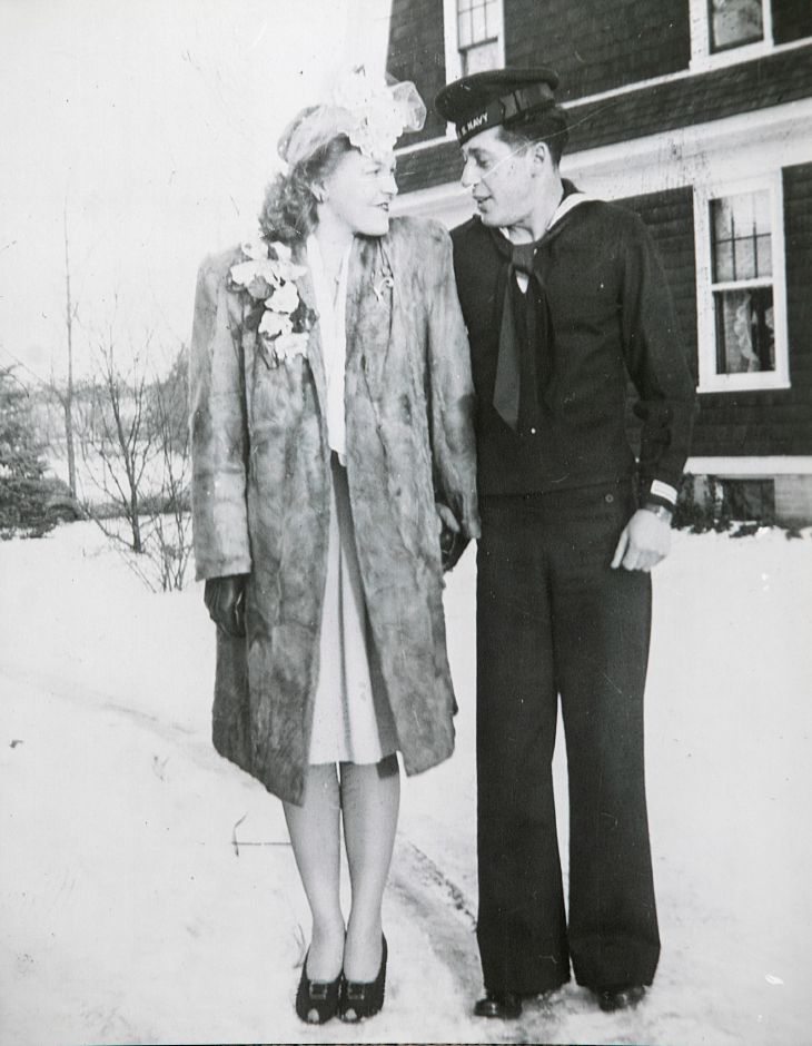 The couple hold hands  on East Center Street in Wallingford on their wedding day, Jan. 27, 1945.Courtesy Bob and Ruth Williams