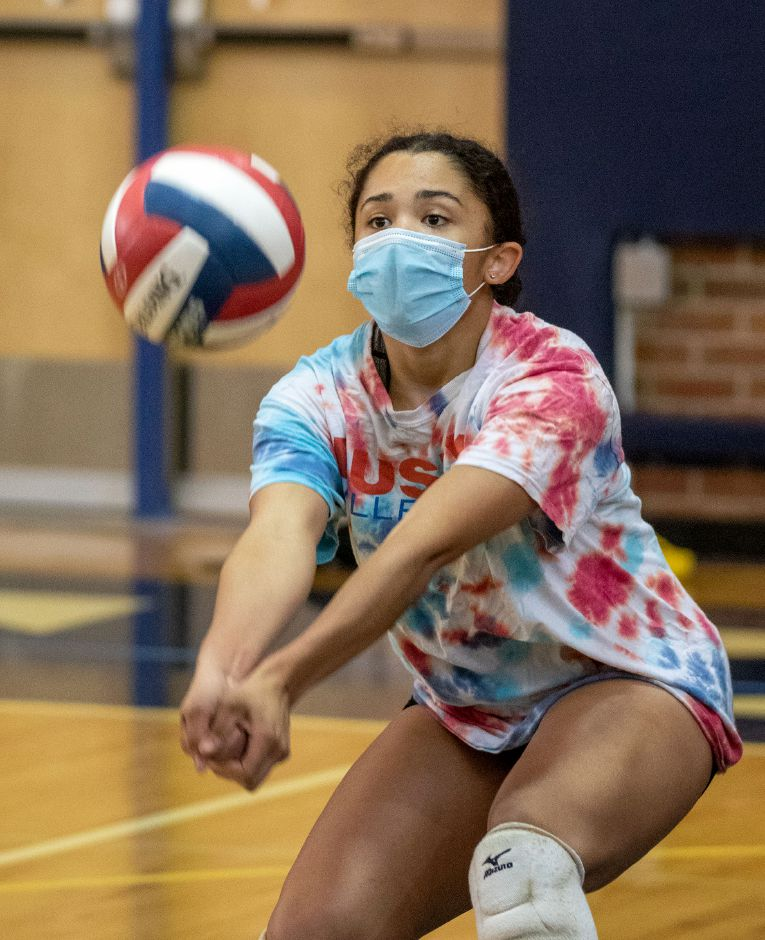Platt's Jazmir Hudson and all other girls volleyball players statewide have had to make the biggest adjustment this fall to playing during the coronavirus pandemic. They are required to wear masks while playing.