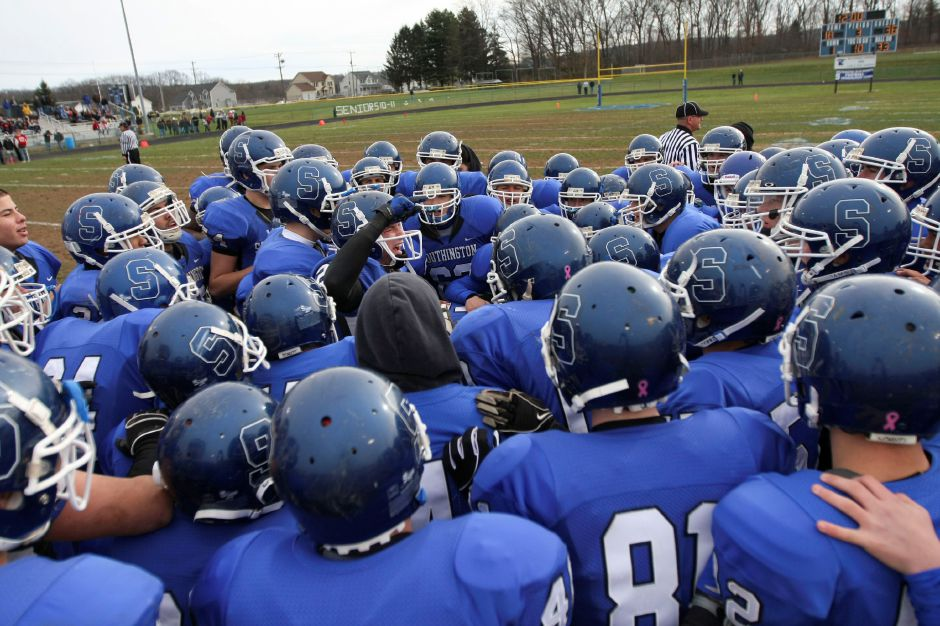 Action from the 2010 Thanksgiving football game between Cheshire and Southington.