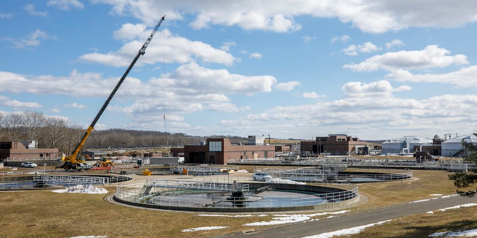 A crane is seen on the wastewater treatment plant property at 226 Evansville Ave. in Meriden on March 4. Dave Zajac, Record-Journal