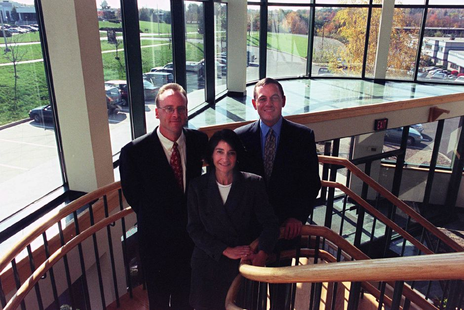 (L)RobertA. Landino President and Chief Executive Officer, (R) David Bal AIA, Principal and front Eve Barakos Landino, Chairman of the Board of Directors seen in the lobby if the BL Companies headquarters in Meriden Oct. 29, 1999.