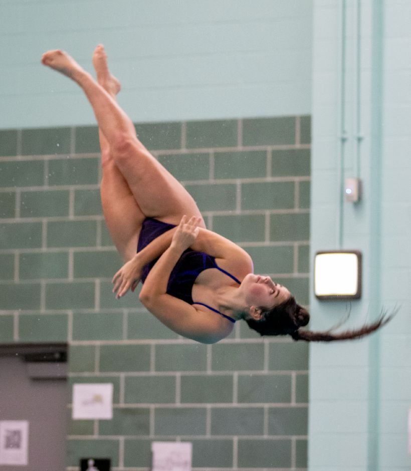 Lizy Beaulieu set a Southington record with a six-dive score of 251.85 in Wednesday's meet with the Meriden Co-op at Maloney High School. Aaron Flaum, Record-Journal