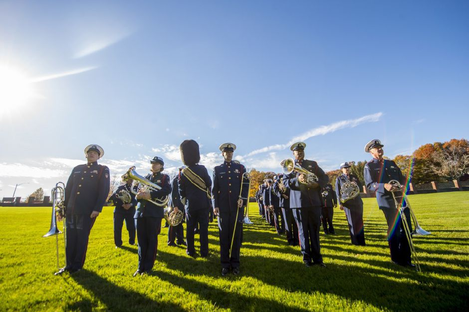 Members of the U.S. Coast Guard band march in formation during a photoshoot and rehearsal, Nov. 9, 2016. | Photo by Petty Officer 2nd Class Richard Brahm, U.S. Coast Guard Academy