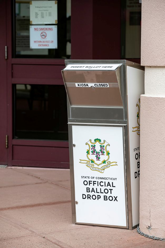 An official ballot drop box placed in front of the Wallingford Senior Center, Wed., Sept. 16, 2020. Dave Zajac, Record-Journal