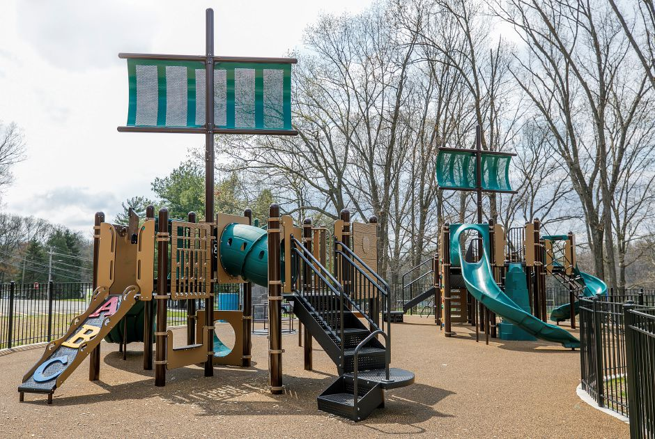 The new playscape at Veterans Memorial Park on Woodruff Street in Southington, Wednesday. The playscape was made possible through a partnership of the Rotary Club of Southington, the Community Foundation of Greater New Britain and the Town of Southington. Dave Zajac, Record-Journal