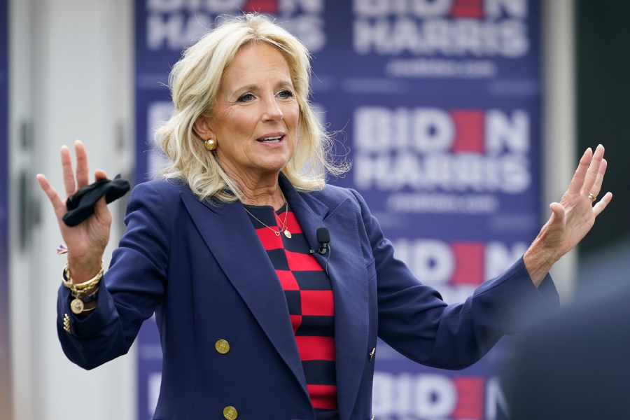 Jill Biden, wife of then Democratic Presidential Candidate Joe Biden, gestures as she speaks during a Virginia listening session with military families in September. First lady Biden is scheduled to visit Meriden on Wednesday. (AP Photo/Steve Helber)