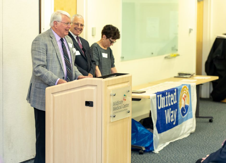 Former Meriden Mayor Michael Rohde speaks during an awards ceremony for the United Way of Meriden and Wallingford