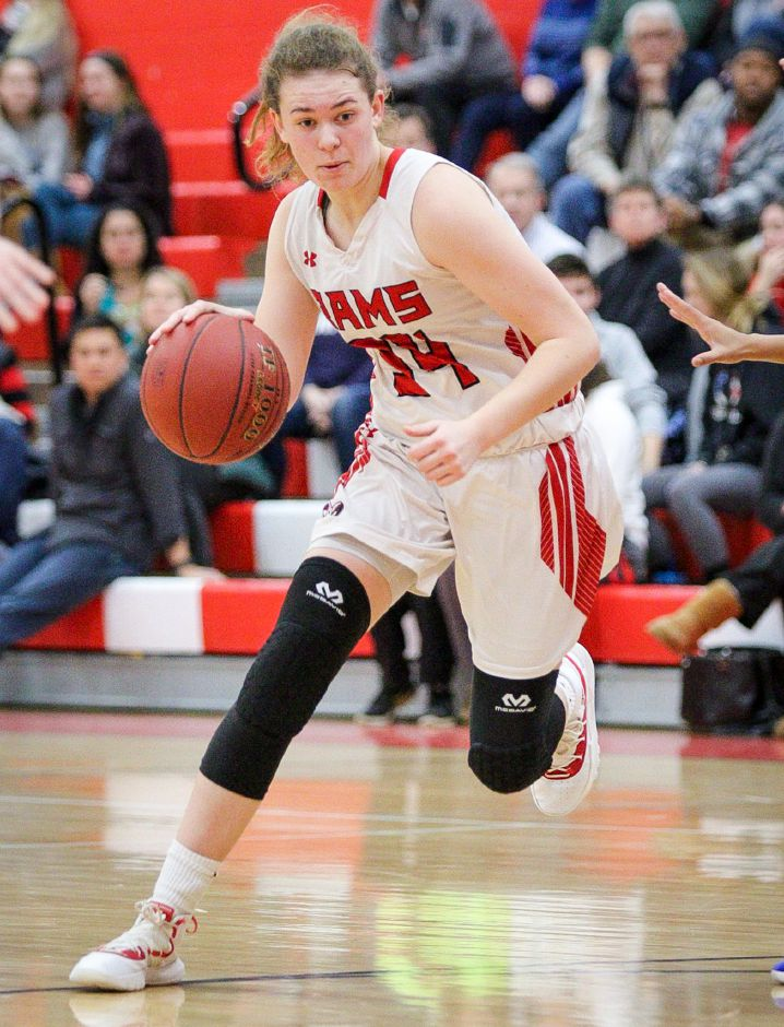 Emma Watkinson scored nine of her team-high 13 points in the fourth quarter to lead the Cheshire girls basketball team to a 37-34 upset of Lyman Hall in Wallingford on Wednesday night. | James Brandolini / Cheshire Herald