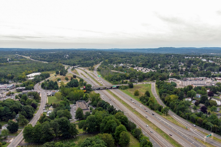 Looking south toward East Main Street and the Interstate 91/Route 15 interchange in Meriden. The state Department of Transportation announced several road projects this week, including on I-91 in Wallingford and North Haven and Route 5 in Meriden. | File photo.