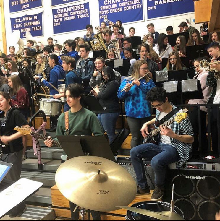 Coginchaug pep band members will perform at the AAC Women