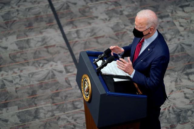 President Joe Biden speaks after a tour of the James Cancer Hospital and Solove Research Institute at The Ohio State University, Tuesday, March 23, 2021, in Columbus, Ohio. (AP Photo/Evan Vucci)