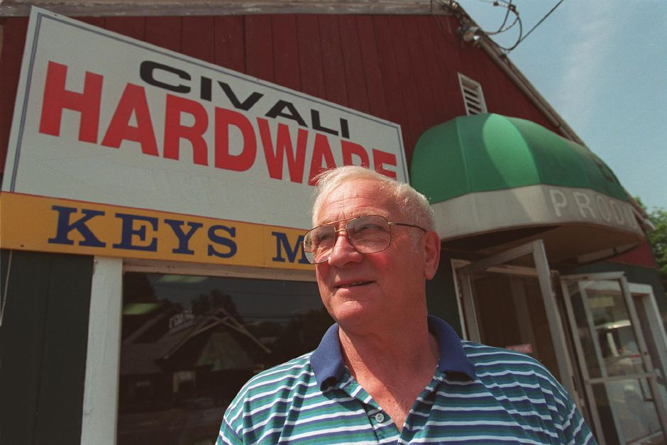 Alphonse Civali, 53, in front of his relocated hardware store on East Main Street in Meriden, June 1999.