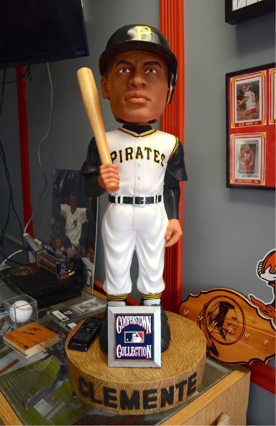 A Roberto Clemente giant bobblehead on display at the Front Row on Thursday, July 28. | Bryan Lipiner, Record-Journal