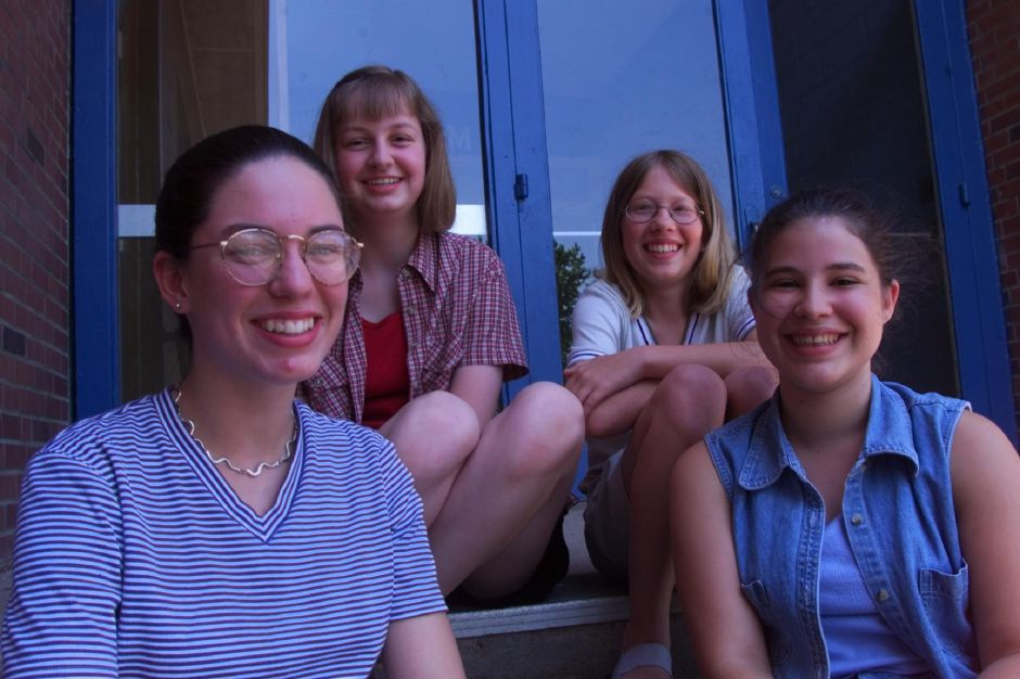 RJ file photo - Lincoln Middle school Jim Smith good writing award winners: L-R Sara Capellini, Jennifer Zemke, Allyson Smith and Jessica Preston June 22, 1999.