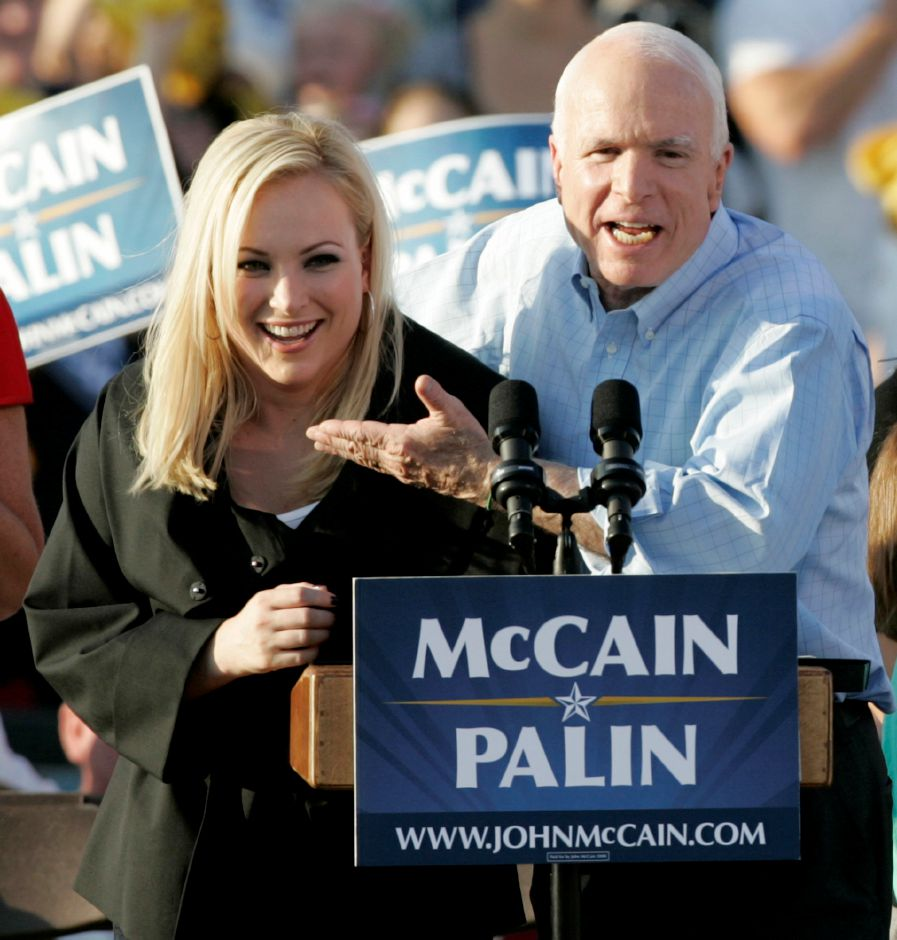Republican presidential candidate, Sen. John McCain, right, introduces his daughter, Meghan, at a campaign stop in Washington, Pa. Saturday, Aug. 30, 2008. (AP Photo/Keith Srakocic)