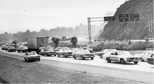 Traffic from the Powder Ridge Rock Festival, 1970, backed up onto Route 66 in Meriden.