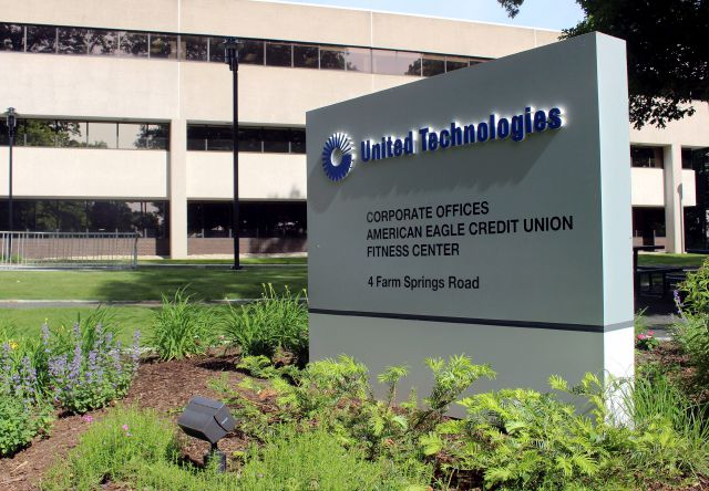 The United Technology headquarters is shown, Monday, June 10, 2019, in Farmington, Conn. Raytheon Co. and United Technologies Corp. are merging in a deal that creates one of the world