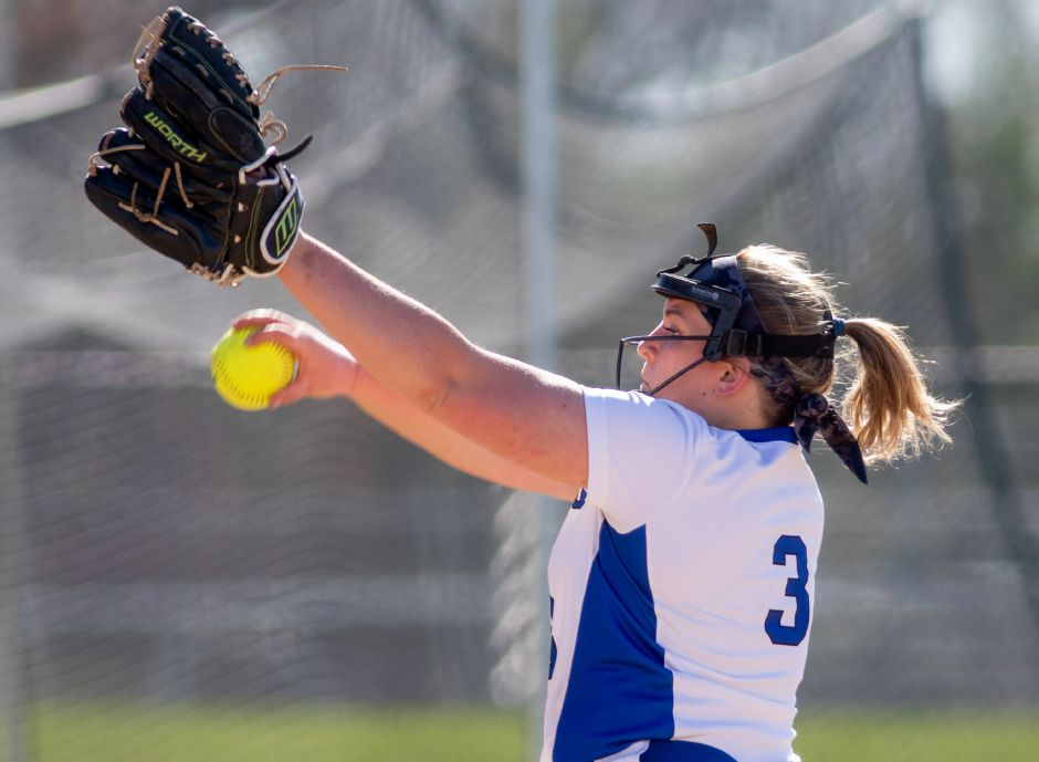 Julia Panarella and the Southington softball team overcame 19 strikeouts and a two-hitter from Hall pitcher Sophie Garner-MacKinnon to defeat the Warriors 4-2 in West Hartford on Thursday. Aaron Flaum, Record-Journal