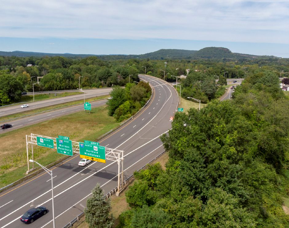 Looking north towards the Interstate 91/691/Route 15 interchange in Meriden Sept. 5, 2019. | Richie Rathsack, Record-Journal