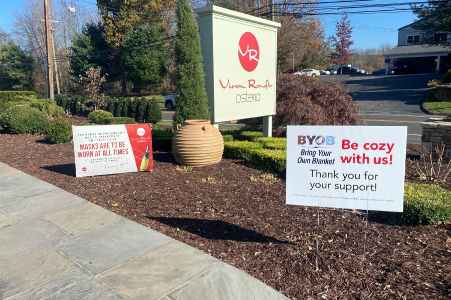 Viron Rondo Osteria, 1721 Highland Ave. Cheshire is a part of the BYOB campaign created in October by the Barker Specialty Company. The sign is at their entrance encouraging customers to bring blankets to dine outside on the patio. Faith Williams. Record Journal