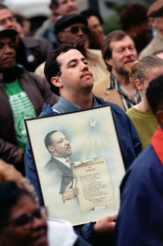 RJ file photo - Shaun Roe, 21, at the rally in Wallingford April 20, 1999 to get Martin Luther King Jr. Day recognized as a paid holiday in town.