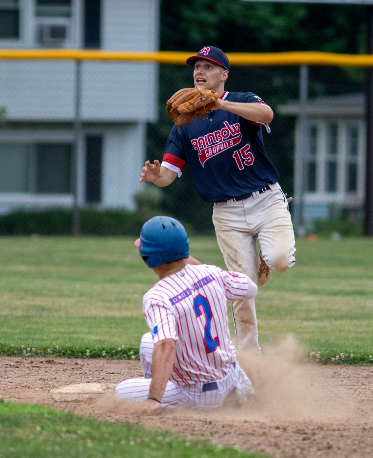 Record-Journal Expo's Joe Gulino steals second as Rainbow Graphics Marcus Fry goes for the ball during a Greater Hartford Twilight Baseball League Game at Ceppa Field on Tuesday, July 7, 2020. Aaron Flaum, Record-Journal