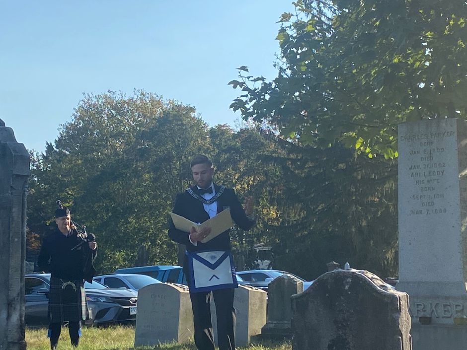 Worshipful Master of Meridian Lodge No. 77 Nick Valinsky speaks at East Cemetery on Saturday morning. Valinsky and the Lodge cleaned up the cemetery last week and held a ceremony on Saturday. | Seak Krofssik, Record-Journal