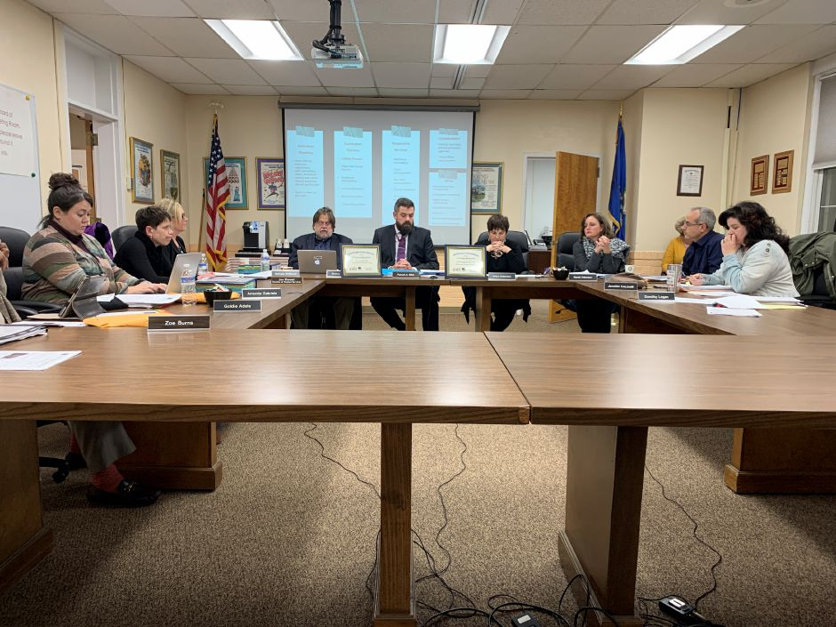 At its recent meeting, the North Haven Board of Education talked about plans to address racial disparity in higher level classes at NHHS and repairs to the high school track.Photo by Everett Bishop, The Citizen