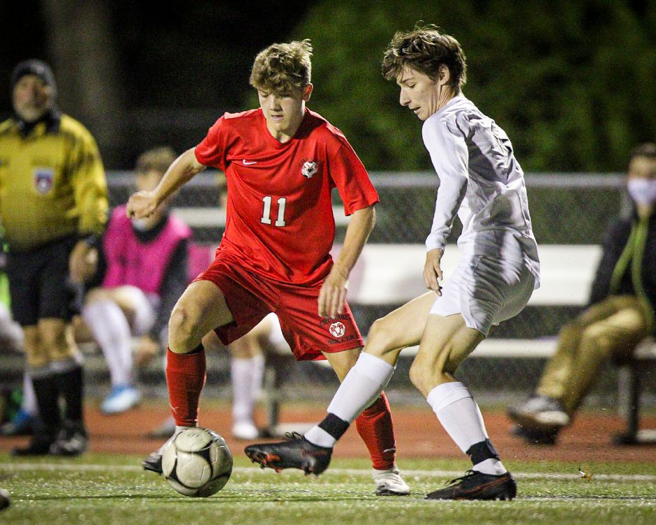 Murphy Malone had two goals in Cheshire's 5-2 win Thursday over North Haven in the SCC Division A semifinals at Alumni Field. The Rams will play the winner to Xavier and Hamden in the finals on Saturday. James Brandolini / Cheshire Herald