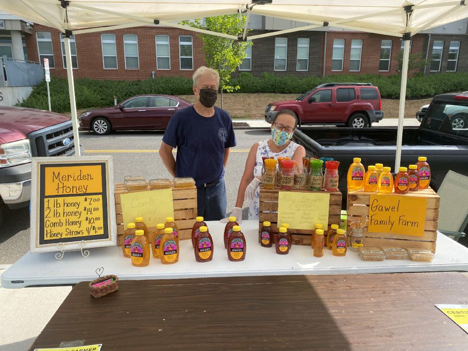 Bob and Debbie Gawel of Gawel Family Farm were one of the seven vendors on hand Saturday morning at the Meriden Farmers Market. The couple was selling honey that was collected in Meriden.