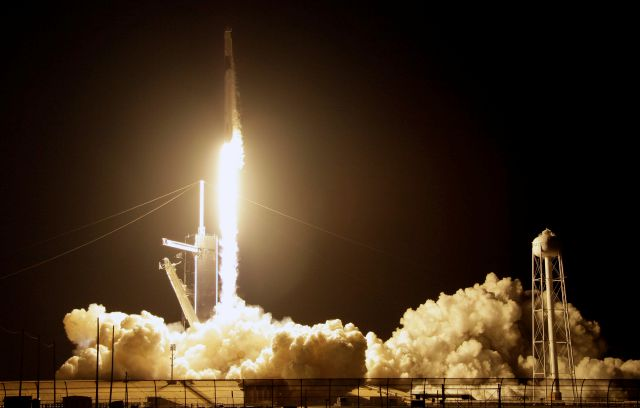 A SpaceX Falcon 9 rocket with a demo Crew Dragon spacecraft lifts off from pad 39A on an uncrewed test flight to the International Space Station at the Kennedy Space Center in Cape Canaveral, Fla., Saturday, March 2, 2019. (AP Photo/Terry Renna)