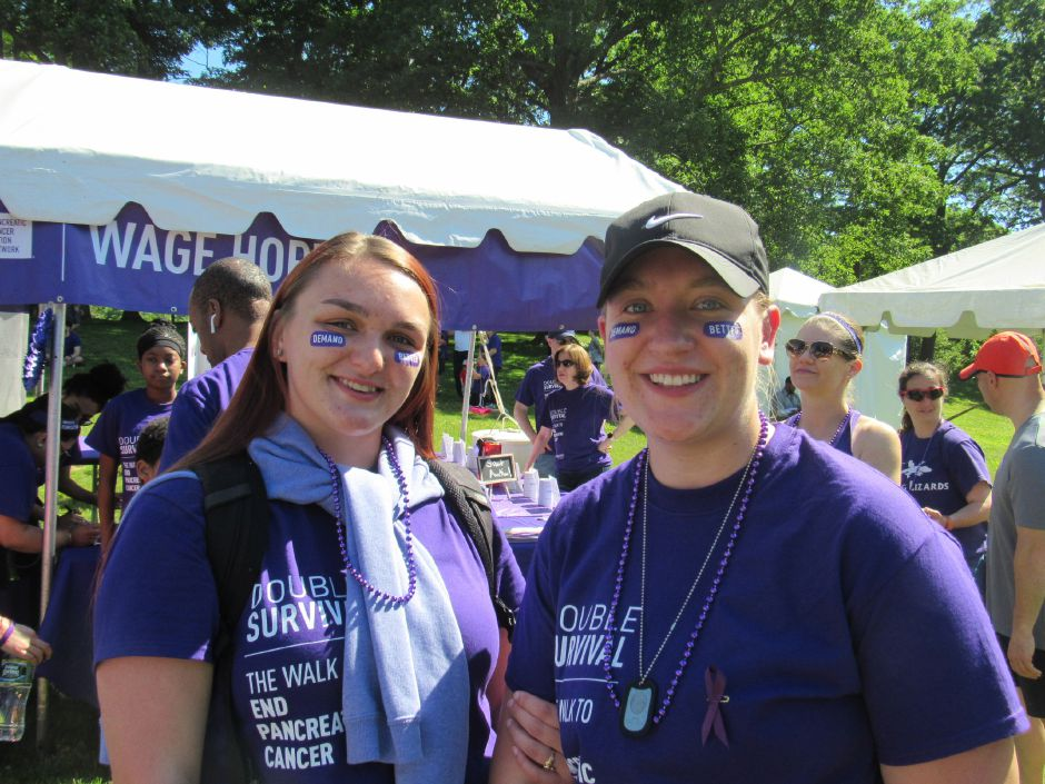 Harley Goulet and Mary Morin at the Pancreatic Cancer Action Network's the Purple Stride walk in Hubbard Park. Saturday, June 15, 2019. | Jeniece Roman, Record-Journal