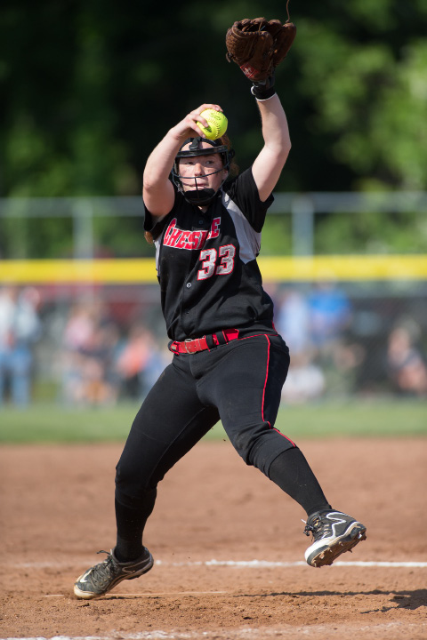 Cheshire's Abigail Abramson delivers a pitch Saturday during the CIAC Class LL final against Amity.  | Photos by Justin Weekes, Special to Record-Journal