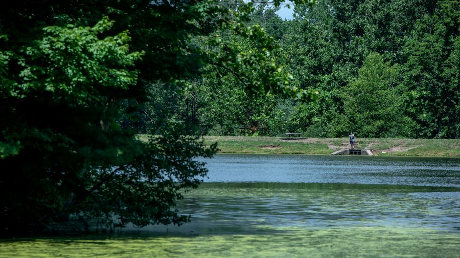 A fisherman reels in his line Sunday at Wharton Brook State Park in North Haven. Devin Leith-Yessian, Record-Journal