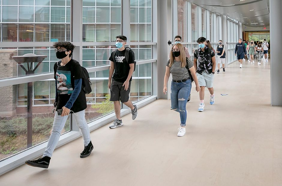 Students head to their next class during the first day of school at Maloney High School in Meriden, Thurs., Sept. 3, 2020. Dave Zajac, Record-Journal