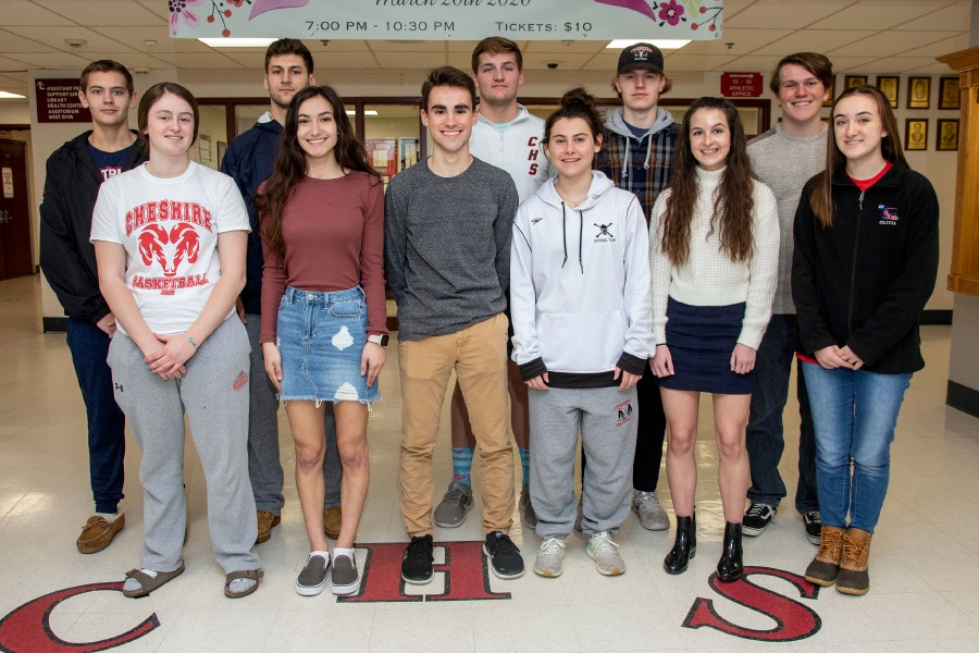 Here are Cheshire's Record-Journal Scholar-Athletes for the 2019-20 winter season. In back, left to right, are Chris Scaffone, Jason Shumilla, Sam Hanke, Max Novicelli and Zach Bates. In front, left to right, are Ari Perlini, Mia Denhart, Kyle Kemp, Nadia DiNatale, Ruth DelVecchio and Olivia Kochol. Aaron Flaum, Record-Journal