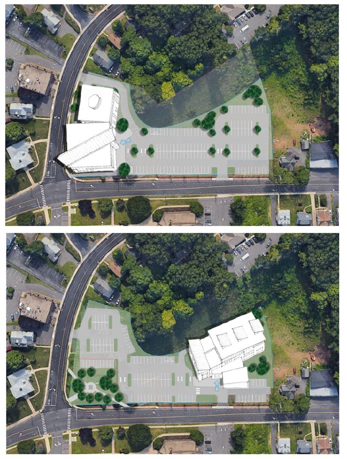 Two options for the Southington Public Library. Top, the existing building renovated with an addition. Bottom, a completely new facility.