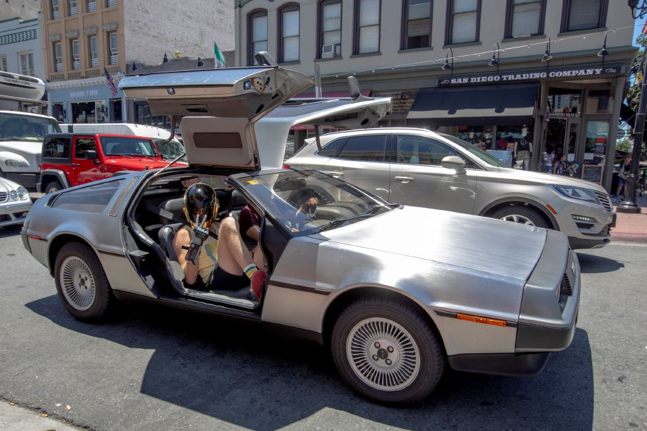 The Back to the Future DeLorean cruises the streets of the Gaslamp District on Day Three at Comic-Con International on Saturday, July 20, 2019, in San Diego, CA. (Photo by Christy Radecic/Invision/AP)