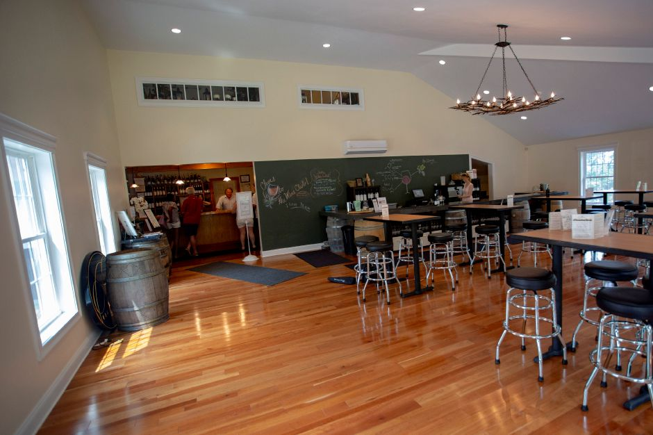 The main tasting room at Priam Vineyards in Colchester was designed to have a rustic feel, Aug. 16, 2018. | Richie Rathsack, Record-Journal
